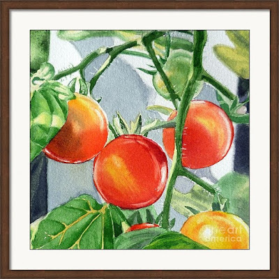 Bestselling Watercolor painting of cherry tomatoes by the artist Irina Sztukowski