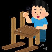 木工工作をする人のイラスト(男性)