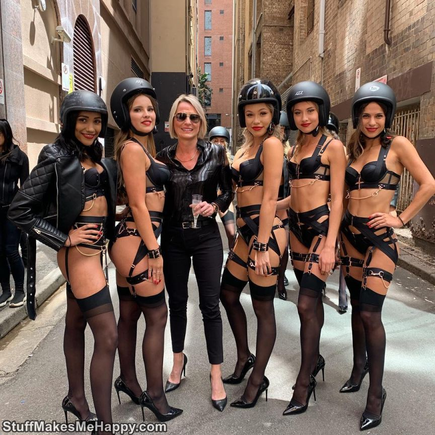 Photographs of Lingerie Babes Ride Motorcycles by Honey Birdette