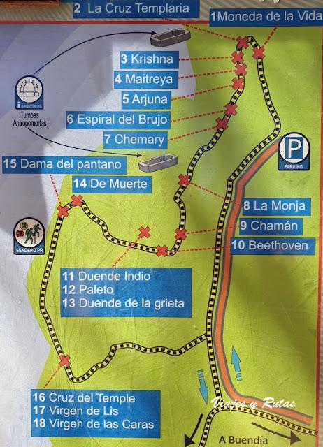 Ruta de las caras de Buendía, mapa