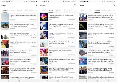 Menu pada fitur News Firefox Lite
