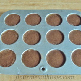 Morsels of Life - Chocolate Mousse Tarts Step 4 - Bake for 7-9 minutes; just until set around the edges, but the center is still wiggly.