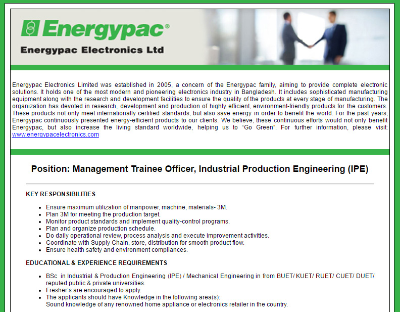 Energypac Electronics Limited - Management Trainee Officer