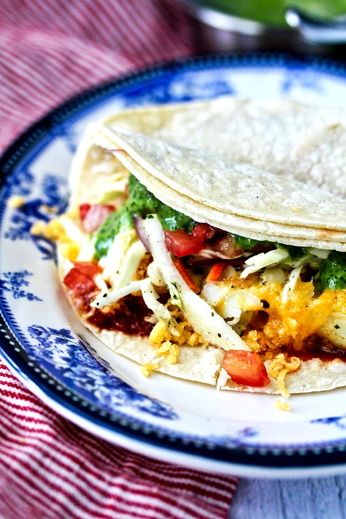 Wahoo's Grilled Fish Tacos with Citrus Slaw on a plate