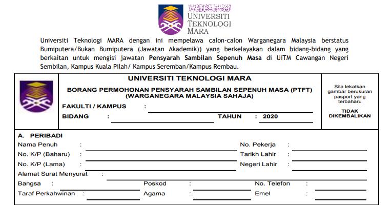 Kekosongan Terkini di Universiti Teknologi Mara (UiTM)
