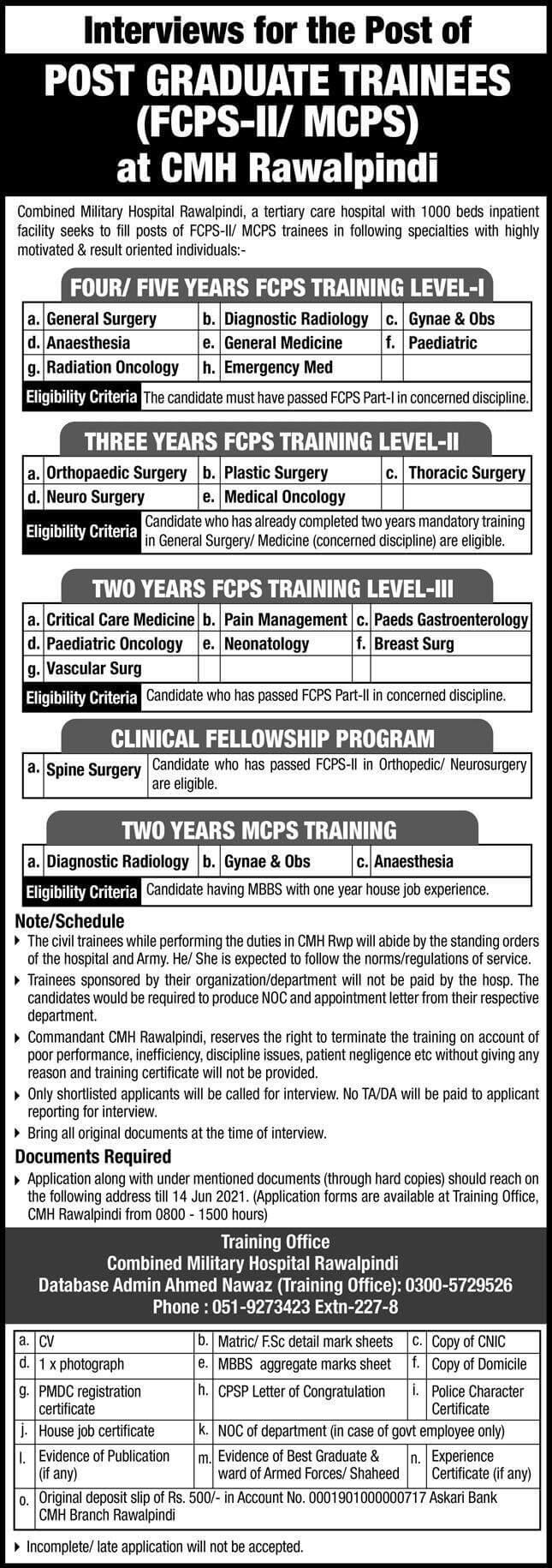 Combined Military Hospital CMH Rawalpindi Jobs 2021 in Pakistan - Military Hospital Rawalpindi Jobs 2021
