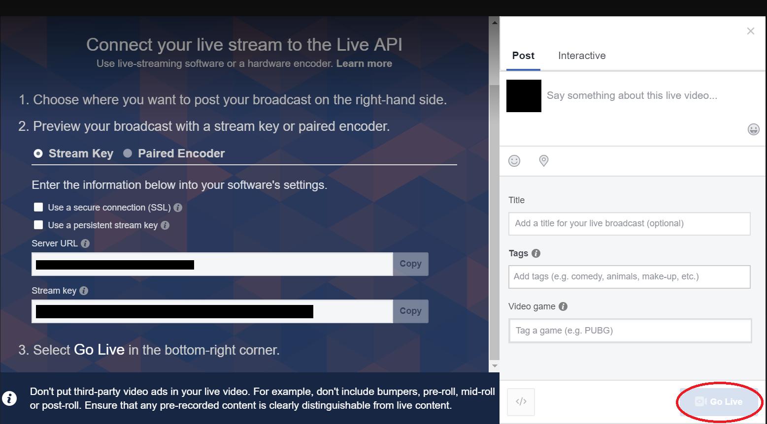 3. OBS - Facebook live