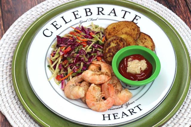 Shrimp, Broccoli Slaw, and Southwestern Potatoes