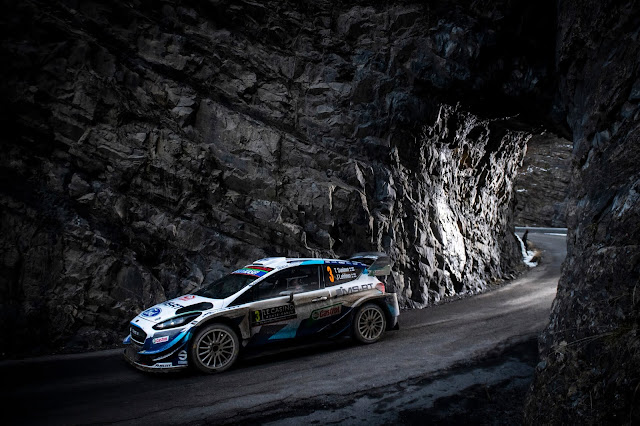 Ford Fiesta WRC Car going through a tunnel on the Monte Carlo Rally