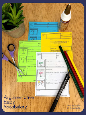 I always start with vocabulary when I teach my middle school students how to write an argumentative essay!  #teaching #strategies
