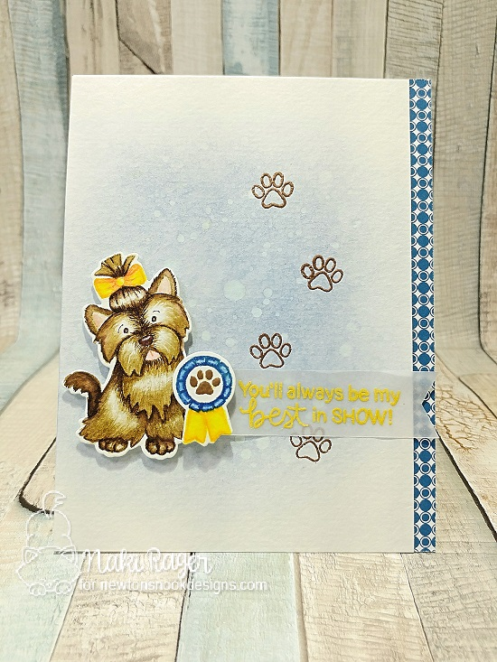 Best in Show Dog card by Naki Rager | Terrific Terriers | Dog Stamp Set by Newton's Nook Designs #newtonsnook