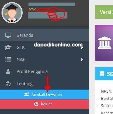 Tukar pengguna sebagi PTK-PD di Aplikasi Dapodik Versi 2020 b telah berhasil