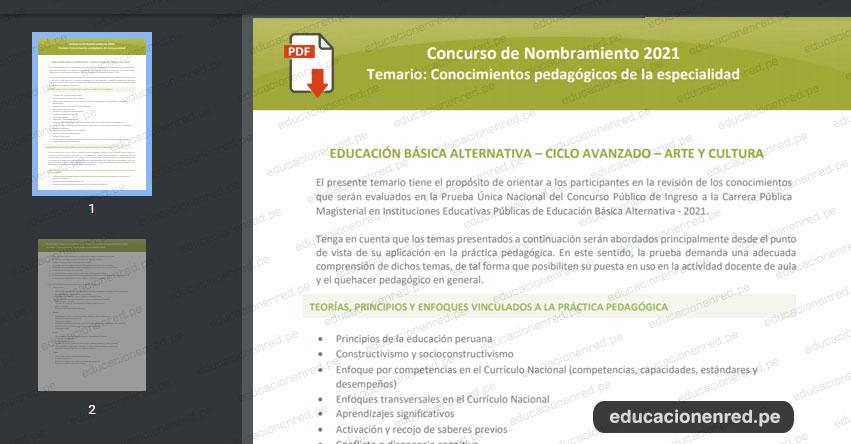 MINEDU publicó Temarios para el Examen de Nombramiento Docente 2021 (.PDF) www.minedu.gob.pe