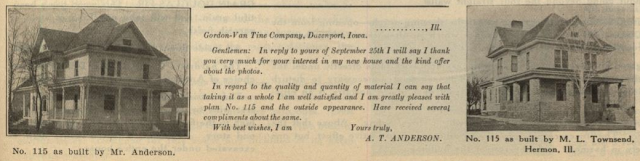 two testimonials for Gordon-Van Tine Standard cut Home No. 115, from the 1916 Standard Homes catalog