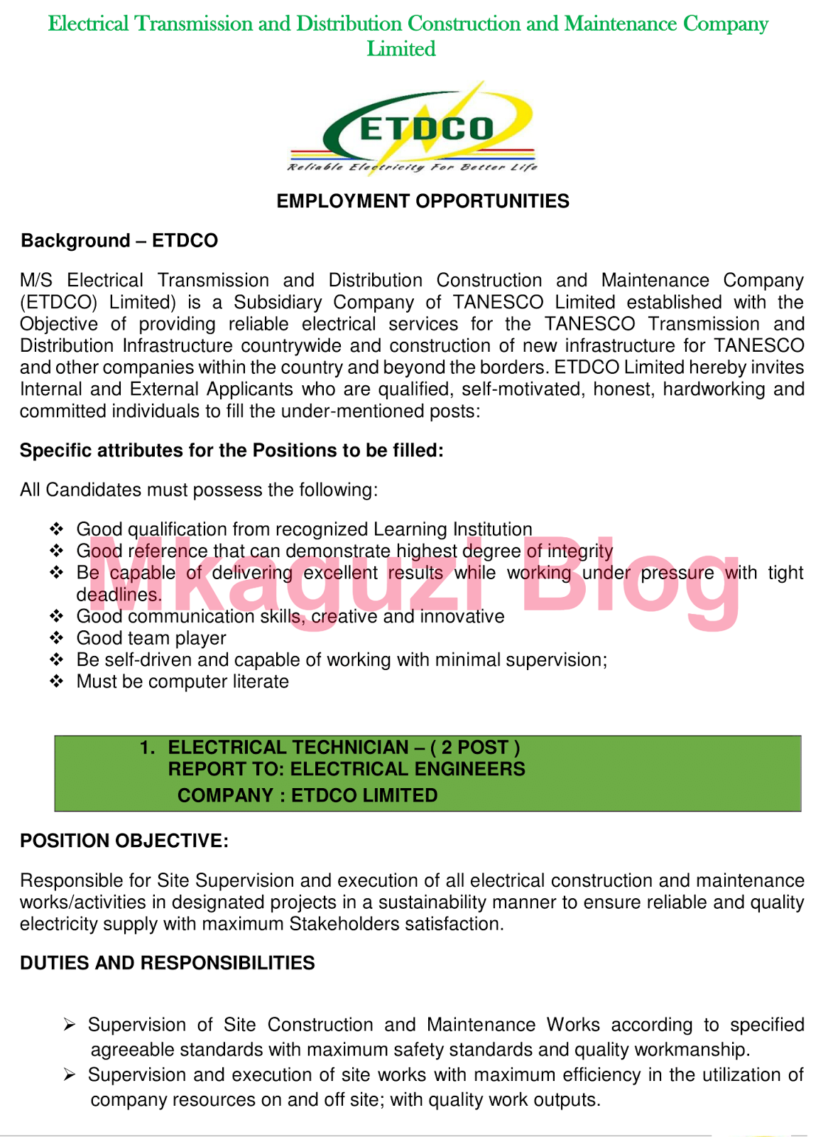 TANESCO Tanzania Jobs 2018 (6 Vacancies)   Ajira zetu - Zoom