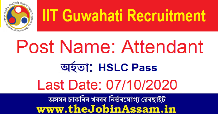 Indian Institute of Technology, Guwahati. Recruitment 2020