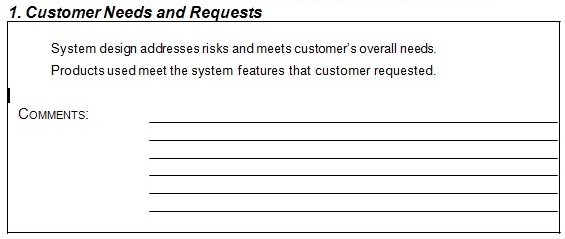 Customer Needs and Requests
