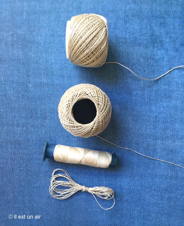 Fils blancs, lin, coton ou soie