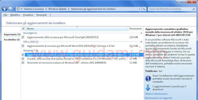 Windows Update aggiornamento cumulativo Windows 7