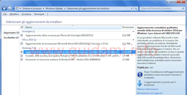 Windows Update aggiornamento cumulativo Windows 7