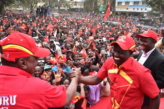Uhuruto speaking about Chebukati dialogue in Nanyuki. PHOTO | PSCU