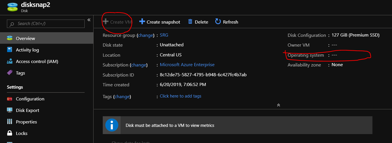 Pachehra: Create VM option is Grayed out - Azure Disk