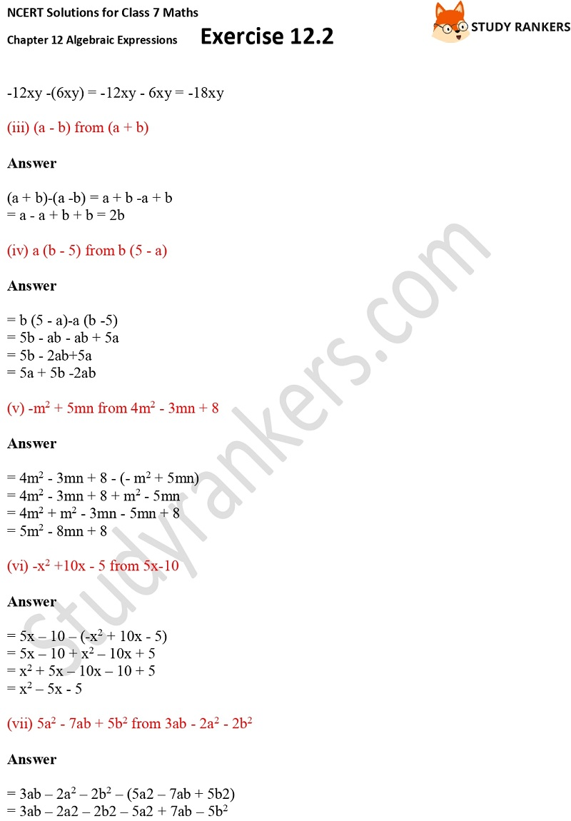 NCERT Solutions for Class 7 Maths Ch 12 Algebraic Expressions Exercise 12.2 6