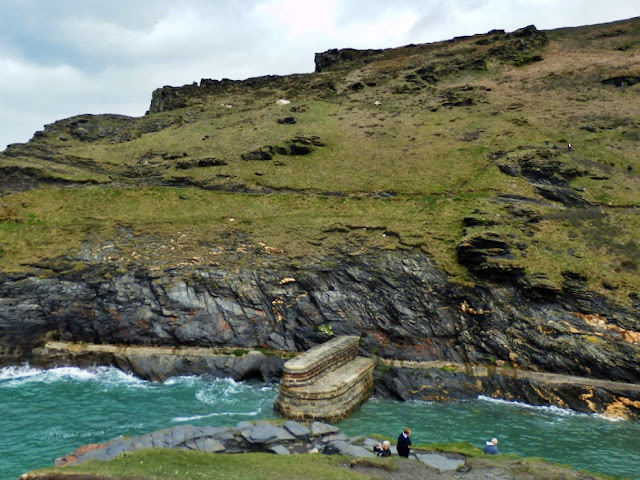The small, old harbour wall at Boscastle, Cornwall