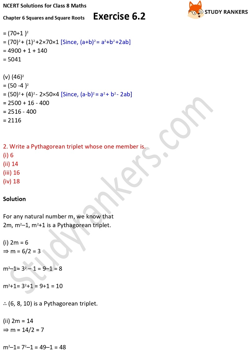 NCERT Solutions for Class 8 Maths Ch 6 Squares and Square Roots Exercise 6.2 2