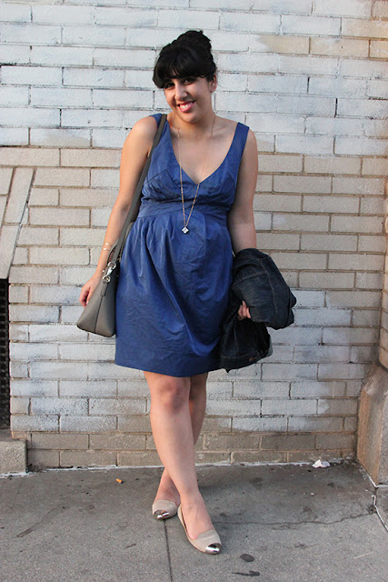 All Saints Little Blue Dress Everyday Spring Outfit Inspiration