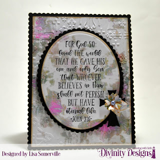 Divinity Designs Stamp: John 3:16, Custom Dies: Ovals, Scalloped Ovals, Rectangles, Scalloped Rectangles, Bitty Blossoms, Embossing Folder/Die Duo: Cross, Mixed Media Stencil: Flourishes