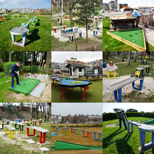 We've seen and played a number of minigolf/snooker cross-over holes, courses and obstacles