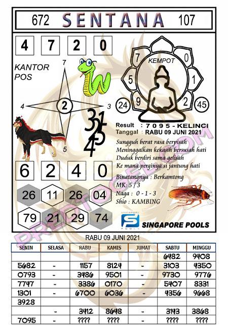 Syair Sentana Singapura rabu 09-juni-2021