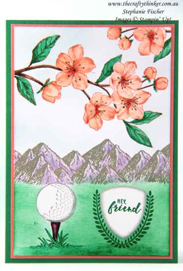 #thecraftythinker #stampinup #cardmaking #masculinecard #inkitstampit #clubhouse #foreverblossoms , Golf Card, Masculine Card, Clubhouse Bundle, Forever Blossoms, Mountain Air, Ink it! Stamp it! Blog Hop, 2018-2020 in-colours, Stampin' Up