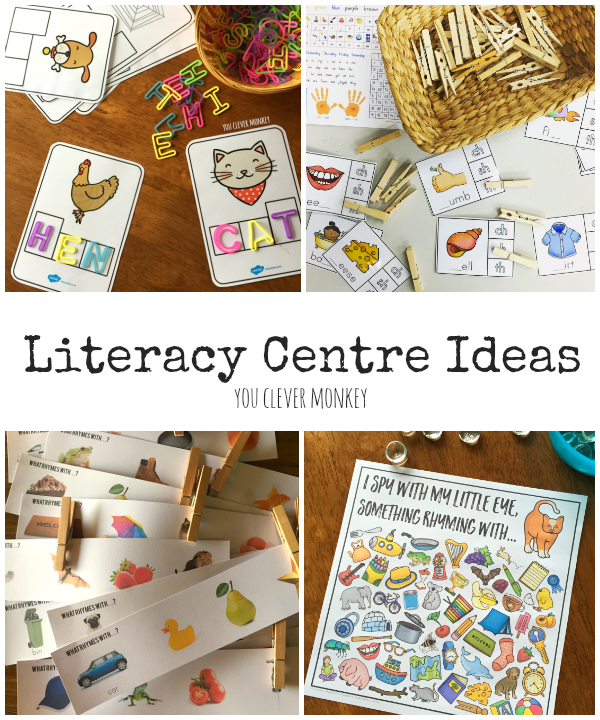 Inspiring Literacy Centre Ideas - activities and printables perfect for use with 5-8 year old children to help develop their early literacy skills | you clever monkey
