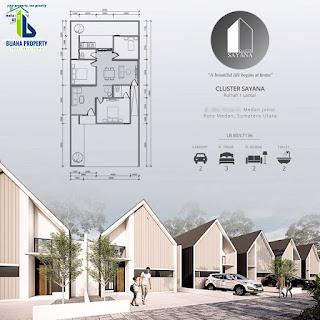 Tipe 80 - Jual Rumah desain kekinian, DISKON 100 Juta, Row jalan komplek 8 meter di Medan Johor - Cluster Sayana