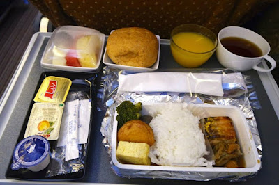 Japanese styled meal on board Singapore Airlines to Tokyo