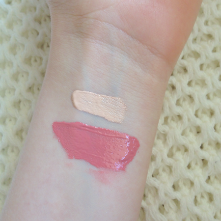 NYX HD Concealer in Fair and NYX Xtreme Lip Cream in Nude Peach Fuzz Swatches