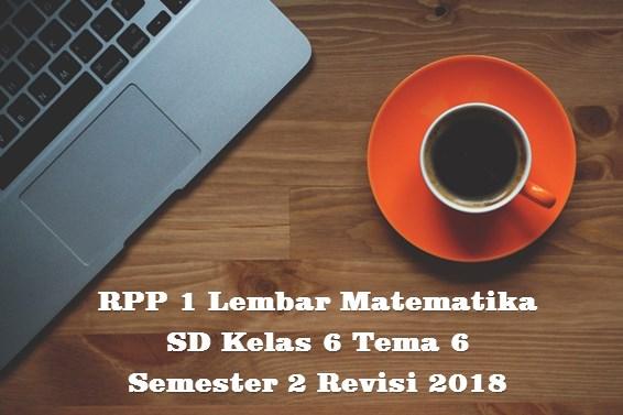 Download RPP 1 Lembar MATEMATIKA SD Kelas 6 Tema 6 Semester 2 Kurikulum 2013