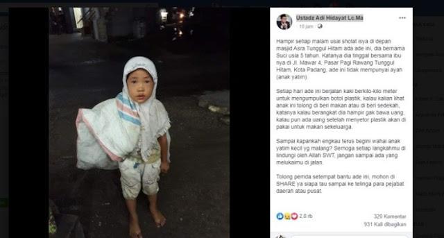 Anak Yatim Pemulung ini Tiap Hari Kumpulkan Botol Plastik untuk Makan Sekeluarga