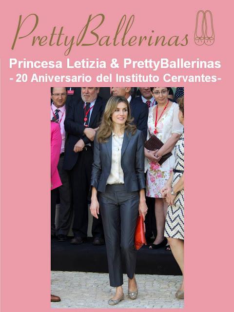 La Princesa Letizia luce un diseño de Pretty Ballerinas en los actos por el 20 Aniversario del Instituto Cervantes.