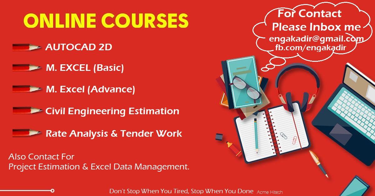 Online Autocad Excel Estimate Course