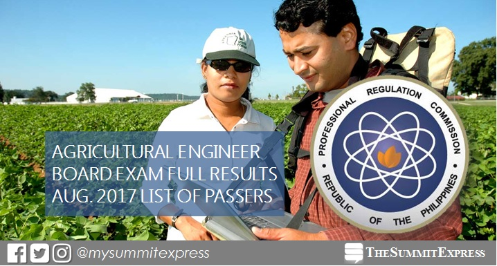 August 2017 Agricultural Engineer board exam passers list, top 10