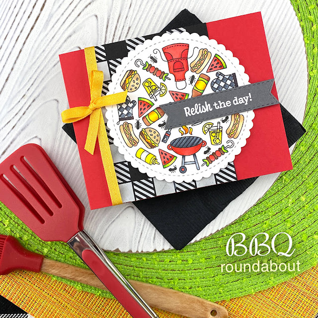 Summer BBQ card by Jennifer Jackson | BBQ Roundabout Stamp Set and Gingham Stencil by Newton's Nook Designs #newtonsnook