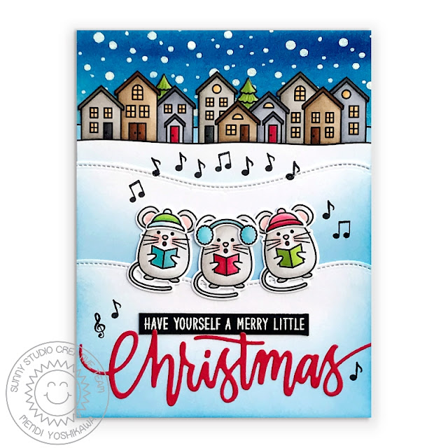Sunny Studio: Merry Mice Christmas Caroling Mouse Holiday Card (using Woodland Border dies, Christmas Garland Dies, Scenic Route Stamps and Frosty Flurries Stamps)