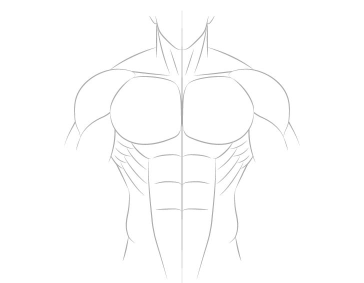 Anime menggambar otot sisi tubuh laki-laki