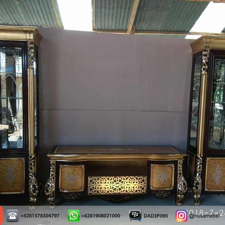 Black Lacquer Credenza & Display Cabinet with Carving Sutopo front view