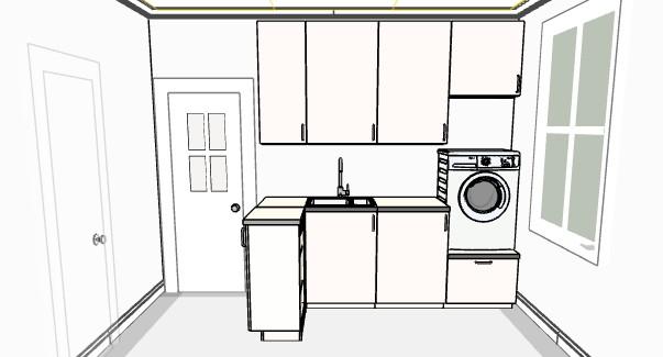 James och Charlottes husrenovering Tvättstuga planering av inredning med modell