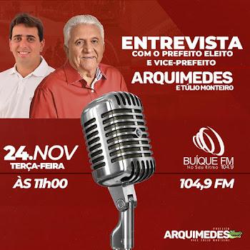 Candidatos eleitos nas ultimas eleições passadas  pelo município de Buíque,  estarão participando  de uma  entrevista nesta terça-feira, 24 de Novembro