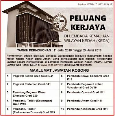 Jawatan Kosong Lembaga Kemajuan Wilayah Kedah (KEDA) 2018